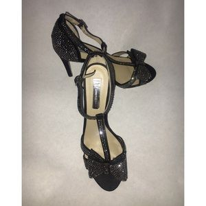 INC Black Satin Rhinestone Heels with Bows 6.5
